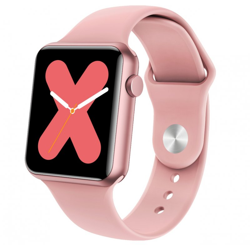 P10 1.3 Inch Square Dial Full Touch Screen UI Color Screen Smart Bracelet Heart Rate Blood Pressure Wristwatch Pink