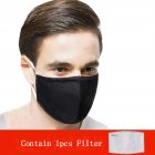 PM2.5 Filter Face Guard Dustproof Cotton with Breathing Valve Anti Dust Allergy Pure black with 1 filter_One size