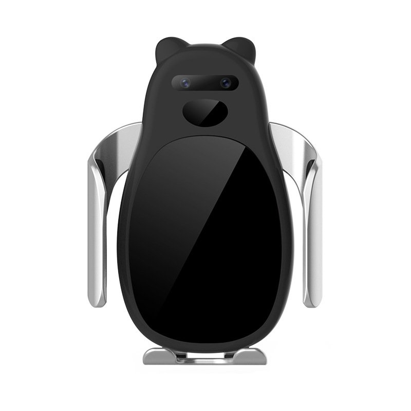 Panda Shaped C0 New Car Wireless Charger Mobile Phone Frame Infrared Intelligent Induction 15 Watts Wireless Fast Charge black