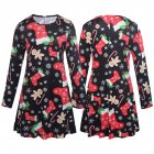 Parent child Outfit Christmas Snowflake Stockings Printed Long sleeved Dress Matching Clothes black S