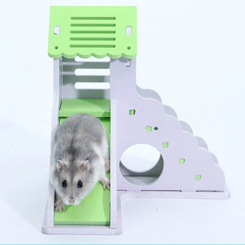 Pet Small Animal Hideout Hamster Hedgehog Guinea Pig House Two Layers Wooden Villa Exercise Play Toys with Ladder  green_small building with ladder