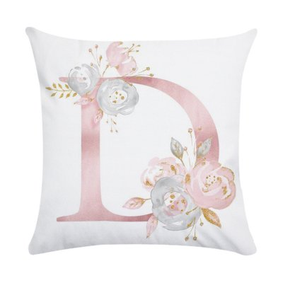 Pink Letter Printing Polyester Peach Skin Throw Pillow Cover 4#_45*45cm