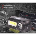 Portable Mini LED Headlamp USB Charging Flashlight for Outdoor Camping  black_Model 1804