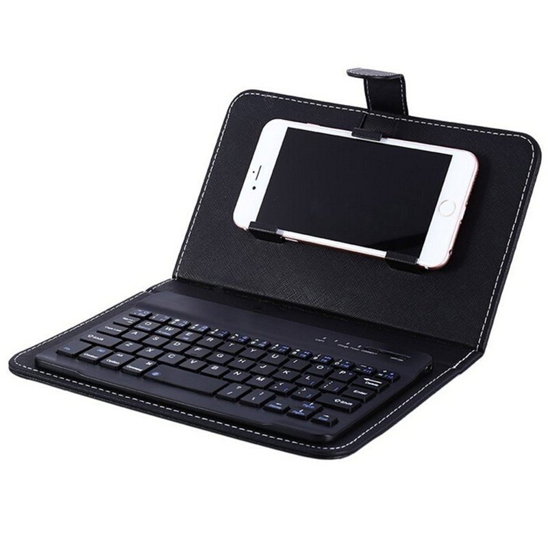 Portable PU Leather Wireless Keyboard Case for iPhone with Bluetooth Keyboard for 4.2-6.8 Inch Phones  black_Bluetooth keyboard + leather case