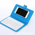 Portable PU Leather Wireless Keyboard Case for iPhone with Bluetooth Keyboard for 4.2-6.8 Inch Phones  Sky blue_Bluetooth keyboard + leather case