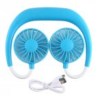 Portable Sports Halter Fan Mini Hanging Neck Fan USB Rechargeable Multi-function Mini fan blue