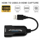 Portable USB 3.0 HDMI Game Capture Card Video Reliable Streaming Adapter for Live Broadcasts Video Recording black