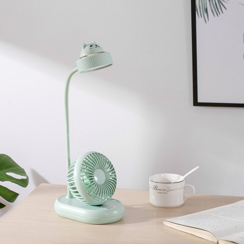 Portable USB Charging LED Light Multifunction Eye Pretection Table Light with Fan green