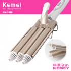 Professional Curling Iron Ceramic Triple Barrel Hair Waver Styling Tools 110-220V Hair Curler Electric Curling Tool Gold_UK Plug