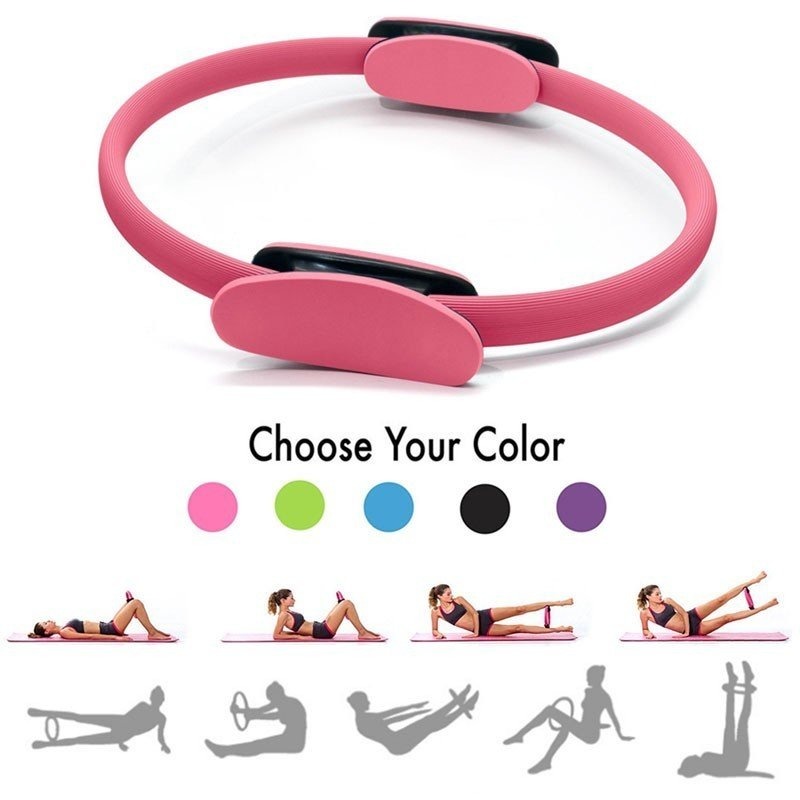 Professional Yoga Circle Pilates Sport Magic Ring Women Fitness Kinetic Resistance Circle Gym Workout Pilates Accessories black_OPP bag