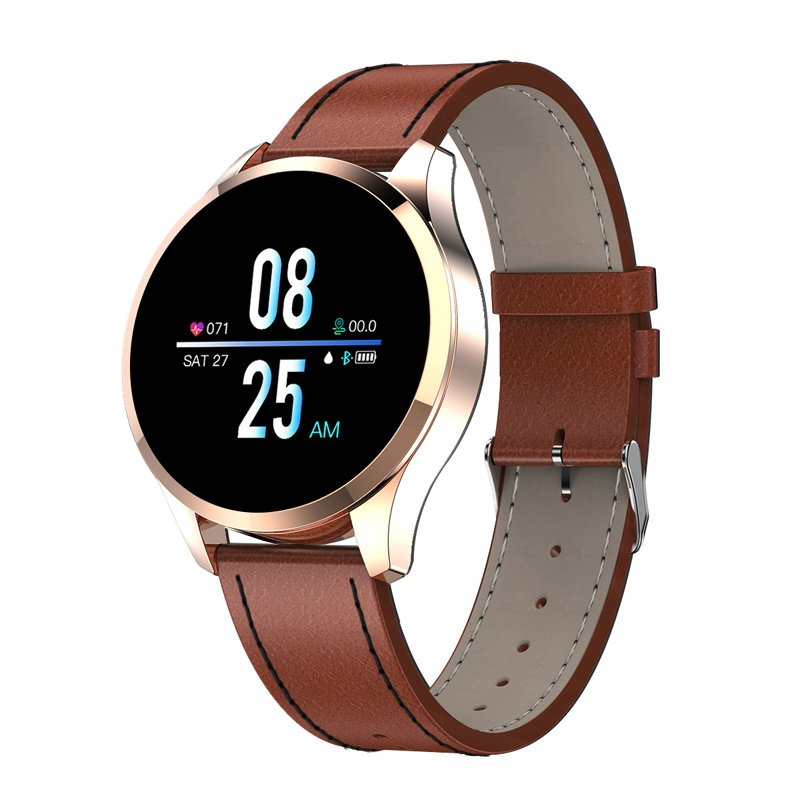 Q9 Men Smart Watch Waterproof Message Call Reminder Smartwatch Heart Rate Monitor Fashion Fitness Bracelet Gold dial brown leather strap