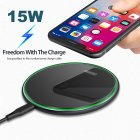 QI Wireless Charger for Apple Android 15W Fast Charging Technology Aluminum Alloy Mirror-like Shiny Ultra-thin Protable  black