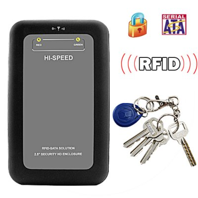 Secure RFID 2.5 Inch SATA HDD Enclosure
