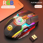 Rechargeable Wireless Gaming Mouse Silent Ergonomic 7 Keys RGB Backlit 1600 DPI Mouse for Laptop Computer black