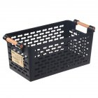 Rectangular Storage Basket with Handle for Tabletop Snacks Fruits Kitchen Organize black