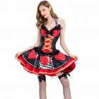 Red & Black Poker Alice In Wonderland Queen Of Hearts Costume Halloween Cosplay Adult Fancy Dress Party Sexy Carnival Costumes 8526_XL