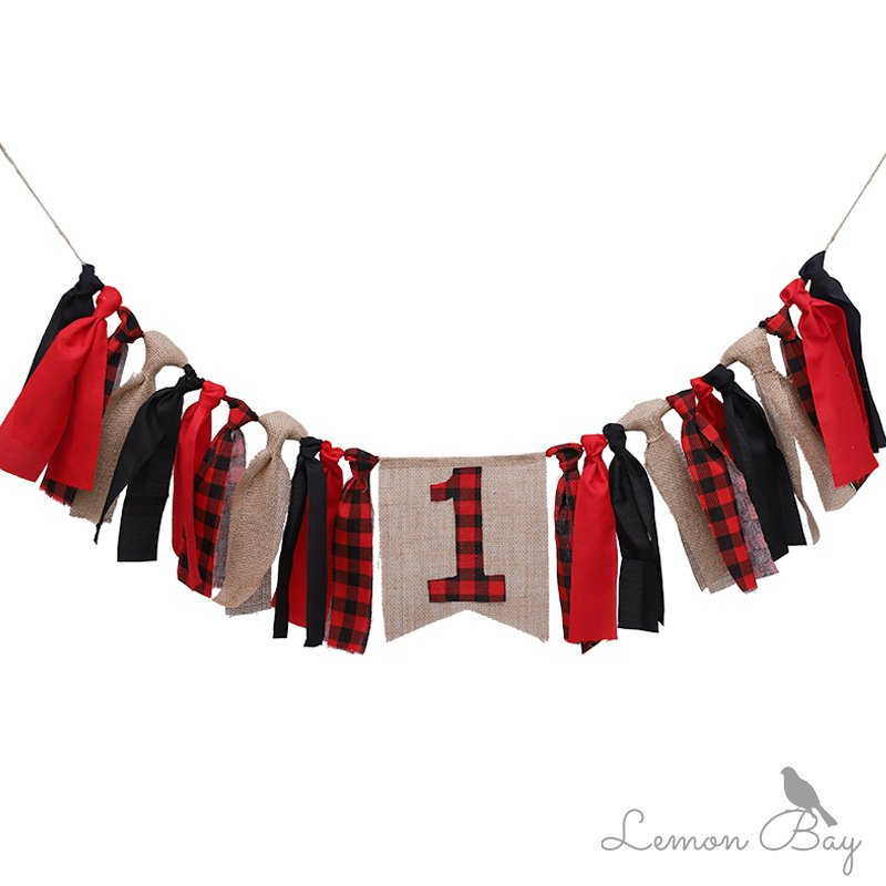 Red Plaid Christmas Party String Flag Baby Bunting Dining Chair Birthday Party Halloween Decoration Lumberjack number 1