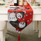 Red  Snowman Long  Table Runner Cloth Non-slip  Table Runner  Home Party Decor Snowman 2#