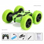 Remote Control Stunt Car Four Wheel Drive Double Side Crawling Deformation Rollover Car Children Charging Toy green
