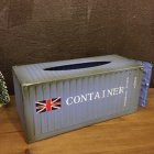 Retro Tabletop Iron Tissue Box for Home Living Room Car Storage Decoration Blue union jack