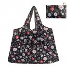 Reusable Foldable Shopping Bags Large Size Tote Bag with Handle Black flower 130_XL