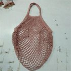 Reusable Mesh Bags Cotton Linen Net Shopping Tote Bag Kitchen Fruits Vegetables Hanging Bag Flesh pink