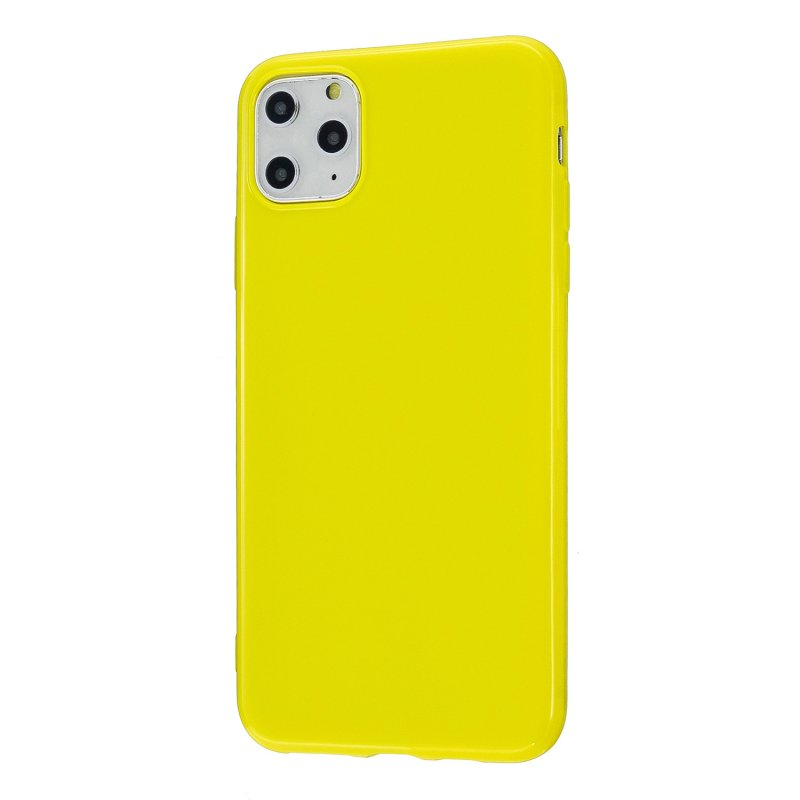 For iPhone 11/11 Pro/11 Pro Max Smartphone Cover Slim Fit Glossy TPU Phone Case Full Body Protection Shell Lemon yellow