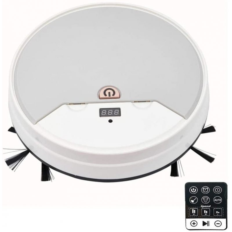 Robot Vacuum Cleaner Strong Suction Intelligent Sweeping Mopping with Timer Function white_26cm