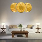 Round Combination Mirror Wall Sticker DIY Decorative Living Room Handwashing Wallpaper Sticker Gold