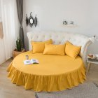 Round Cotton Bed Skirt Bedspread for Home Hotel Sleeping Decoration turmeric