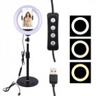 Round LED Fill Light Dimmable Telescopic Stand for Mobile Phone Video Live Selfie Photography black