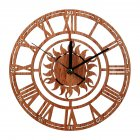 Rustic Creative Wood Roman Numerals Wall Clock Silent Non-Ticking Sun Shape Hollow Wall Clock for Kitchen Office Home Decoration Brown