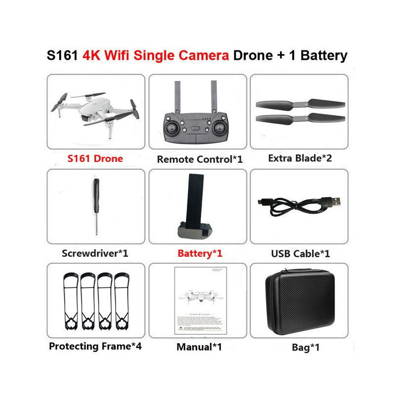 S161 Drone 4k Hd Dual Camera Wifi Fpv 2.4ghz Quadcopter Drone Gesture Control Photo Optical Flow Kids Toys 4K dual camera