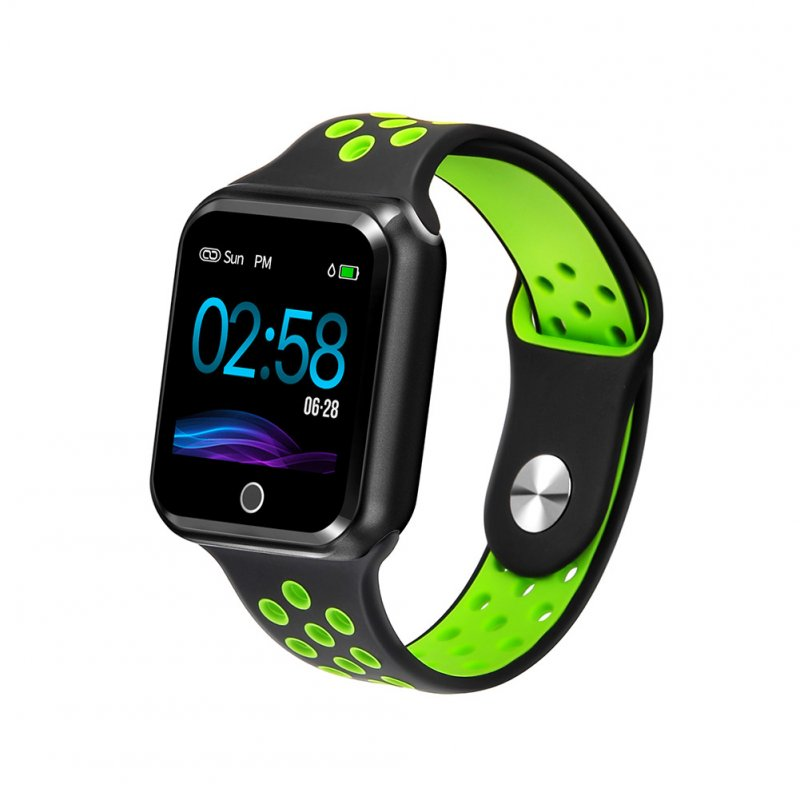 S226 Smart Watch Fitness Tracker Heart Rate Monitor Smart Bracelet Blood Pressure Pedometer  Black shell + black and green strap