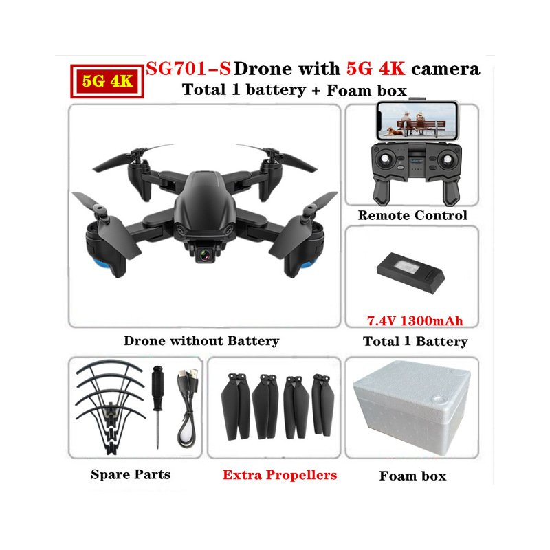 SG701 SG701-S GPS Drone with 5G WIFI FPV 4K Dual HD Camera Optical Flow Quadcopter Foldable RC Helicopter VS S167 E520S 5G foam box