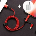 SIMU 1M Three-In-One Braided Mobile Phone Charging Cable For Apple Android Type-C red