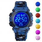 Original SKMEI Kid Digital Sports <span style='color:#F7840C'>Watch</span> Colorful LED Date Week EL Light Waterproof Alarm Camouflage Wristwatch Dark blue