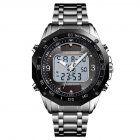 Original SKMEI Men Solar Quartz Digital <span style='color:#F7840C'>Watch</span> Dual Time Date Week Waterproof EL Light Alarm Sports Wristwatch Silver black