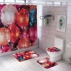 Santa Claus/Christmas Snowman/Christmas Tree Pattern Printing Shower Curtain + Floor Mat +Toilet Seat Cover+ Foot Pad Set Y184_As shown