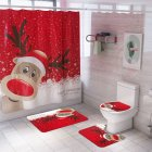 Santa Claus/Christmas Snowman/Christmas Tree Pattern Printing Shower Curtain + Floor Mat +Toilet Seat Cover+ Foot Pad Set Y144_As shown