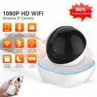 Security Wireless IP Camera 1080P Home Security 2 Way Audio Alarm IR Night Vision P2P Surveillance CCTV Wifi Camera 3MP-300 million pixels_EU Plug