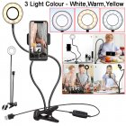 Selfie Flash Ring Light Mobile Phone Holder 24 LED Camera Long Arm USB Clip black