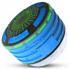 Shower Speaker Waterpoof IPX7 Portable Wireless Bluetooth Speakers with Radio Suction Cup LED Mood Lights dark blue