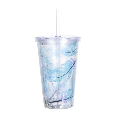 Simple Leather Pattern Double Layer Straw Cup for Fruit Juice Water Drinking D