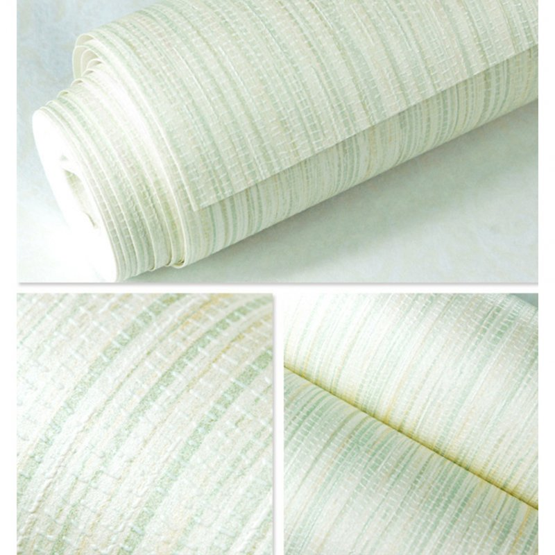 Simple Linen Grain Non-Woven Wallpaper Home Livingroom Bedroom Decor 10M Light green