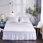 Simple Solid Color Elastic Trimmed Ruffle Bed Skirt White