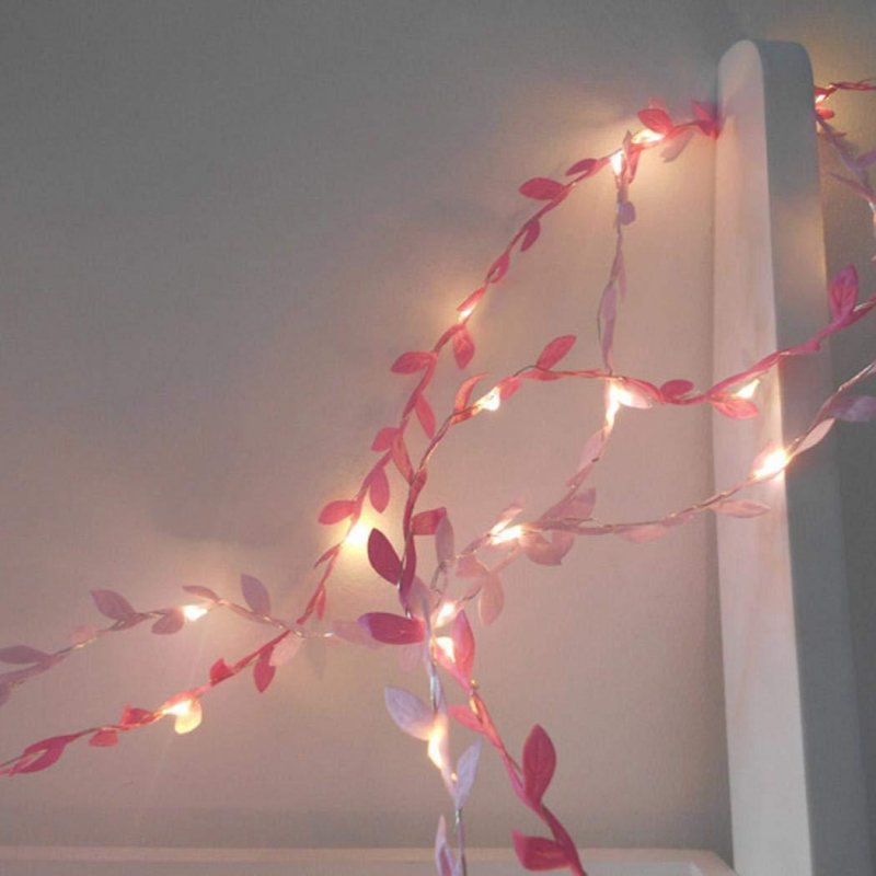Simulate Leaf Garland String Light Flexible Copper Wire Artificial Leaves Lamp for Christmas Wedding Party Pink leaf rattan_3m copper wire lamp (battery box)