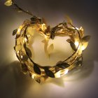 Simulate Leaf Garland String Light Flexible Copper Wire Artificial Leaves Lamp for Christmas Wedding Party Golden rattan_3m copper wire lamp (battery box)