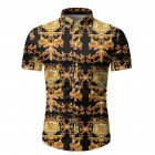 Single-breasted Shirt of Short Sleeves and Turn-down Collar Floral Printed Top for Man As  shown_L