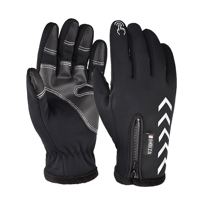 Ski Gloves Anti Slip Winter half-finger full -finger Windproof Gloves Cycling Fluff Warm Gloves For Touchscreen Long finger black_XL